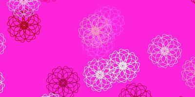 lichtroze vector doodle textuur met bloemen.