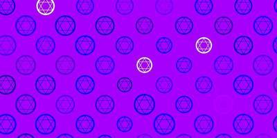 lichtroze, blauwe vector sjabloon met esoterische tekens.