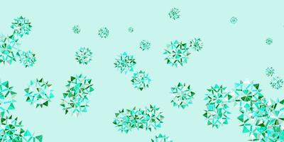 lichtgroen vectorpatroon met gekleurde sneeuwvlokken.