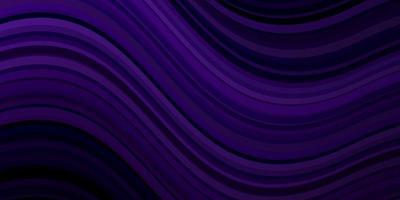 donkerpaars vectorpatroon met gebogen lijnen.