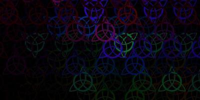 donkere veelkleurige vectorachtergrond met occulte symbolen.