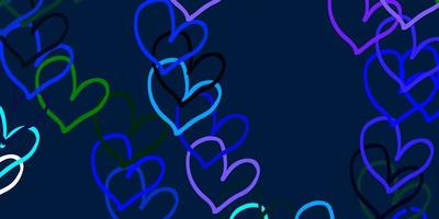 lichtblauwe, groene vectorachtergrond met zoete harten.