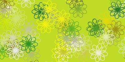lichtgroene, gele vector natuurlijke lay-out met bloemen.