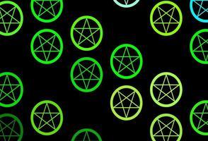 donkerblauwe, groene vectortextuur met godsdienstsymbolen.