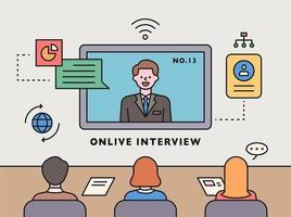 coronavirus tijdperk. online interview vector