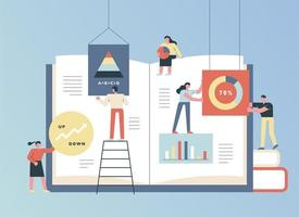enorm boek en zakenmensen