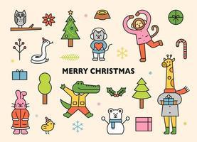 kerst en vrolijke dieren. vector