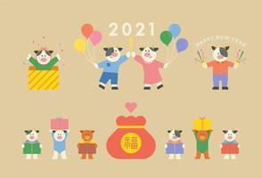 een koe die het jaar 2021 symboliseert.
