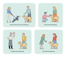 informatieillustratie voor blindengeleidehonden voor blinden en slechtzienden.