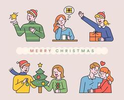 vrolijke kerstmensen delen liefde.