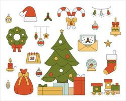 kerstboom en omringende kerst ornamenten set.