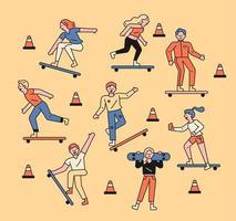 jongeren rijden skateboards. vector