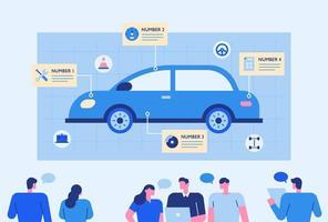experts analyseren auto's. vector