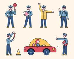 schattig verkeerspolitie karakter. vector