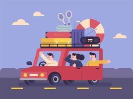mensen die met hun bagage in de auto reizen.