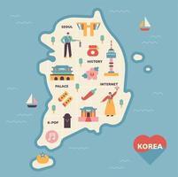 Zuid-korea kaart en pictogrammen. vector