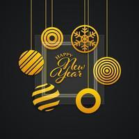 nieuwe jaarbanner met abstracte ballen en glaspaneel vector
