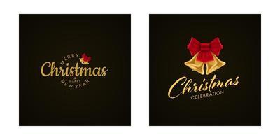 kerstmis en nieuwjaar belettering met belpictogrammen instellen vector