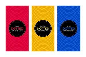 kleurrijke banners met ronde gestippelde texturen set vector
