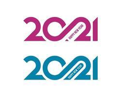 minimaal 2021 cijfers gelukkig nieuwjaar belettering vector