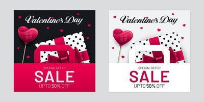 Valentijnsdag verkoop poster set met geschenkdozen en tassen set vector