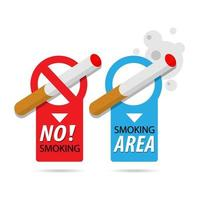 niet roken en roken gebied teken badge