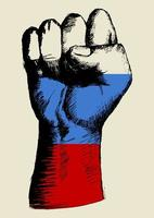 geest van een natie, Russische vlag met vuist omhoog schets