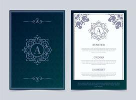 luxe restaurant menu ontwerpsjabloon met sierlijke logo vector