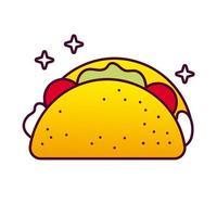 Mexicaans taco eten gedetailleerde stijlicoon vector