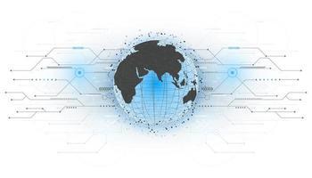 abstracte futuristische wereldbol met cirkelsysteem dat met lijnpijlen is verbonden