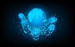 abstracte futuristische hand houdt de wereld met circuitcirkel vast