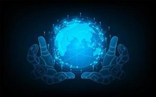 abstracte futuristische hand houdt de wereld vast met circuitcirkel