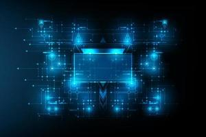 abstracte futuristische printplaat met ruimteframe in het midden