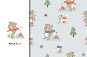 cartoon teddybeer en slee met een cadeau. kaart en naadloos patroon als achtergrond.