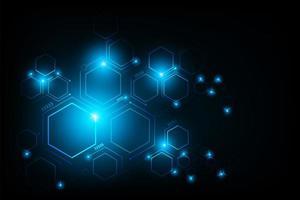 abstracte futuristische circuit zeshoek verbindingslijn vector en illustratie