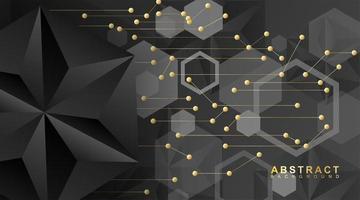 abstracte lijnen en punten zijn met elkaar verbonden. vector achtergrondtechnologie met zwarte of driehoekige zeshoeken.