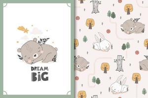 slapende beer en konijntje baby dierlijke karakters. schattige cartoon doodle kaart en naadloze achtergrondpatroon ingesteld.