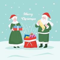 Dhr. en mevr. de kerstman die de geschenken in de zak van santa stopt. vector