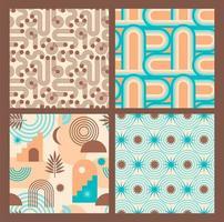 abstracte geometrische collectie van naadloze patronen. eigentijdse stijl. vector