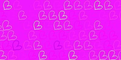 lichtpaarse vectortextuur met mooie harten.