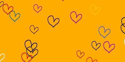 licht veelkleurige vector achtergrond met hartjes.