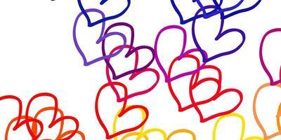 lichtrode, gele vectortextuur met mooie harten.