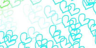 lichtblauwe, groene vector achtergrond met hartjes.
