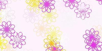 lichtroze, gele vector natuurlijke achtergrond met bloemen.
