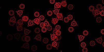 donkerrode vector sjabloon met esoterische tekens.