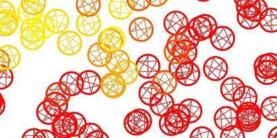 lichtrode, gele vectorachtergrond met mysteriesymbolen.