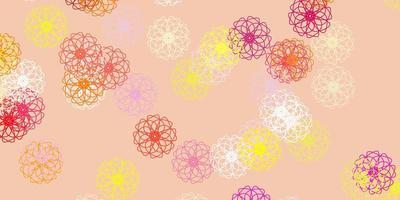 lichtroze, gele vector doodle textuur met bloemen.