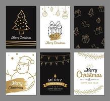 vrolijke kerstkaarten met gouden luxe decoratiesjablonen. set vakantieposters, label, banner, briefkaartontwerp. vector