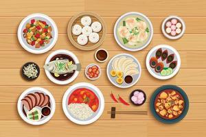 Chinees eten op bovenaanzicht houten achtergrond.