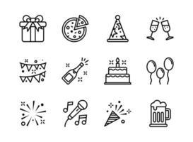 partij pictogrammenset Kaderstijl. symbolen voor website, print, tijdschrift, app en design. vector